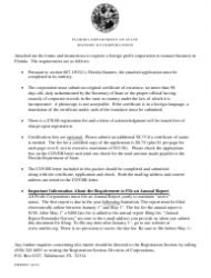 """Form CR2E007 """"Application by Foreign Corporation for Authorization to Transact Business in Florida"""" - Florida"""