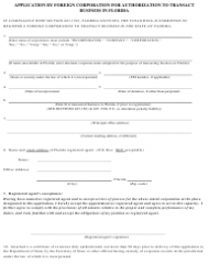 """Form CR2E007 """"Application by Foreign Corporation for Authorization to Transact Business in Florida"""" - Florida, Page 3"""