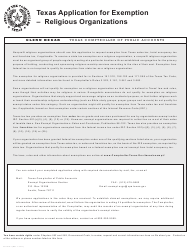 Form AP-209 Texas Application for Exemption - Religious Organizations - Texas