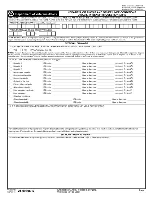 VA Form 21-0960G-5 Download Fillable PDF, Hepatitis