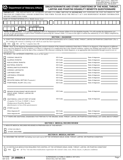 Va Form 21 0960n 4 Download Fillable Pdf Or Fill Online Sinusitis