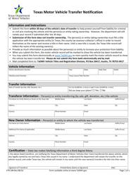 "Form VTR-346 ""Texas Motor Vehicle Transfer Notification"" - Texas"