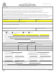 Form DS-117 Application to Determine Returning Resident Status
