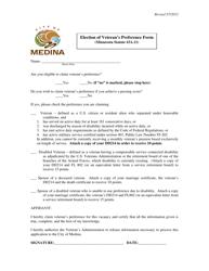 """""""Election of Veteran's Preference Form"""" - City of Medina, Minnesota"""