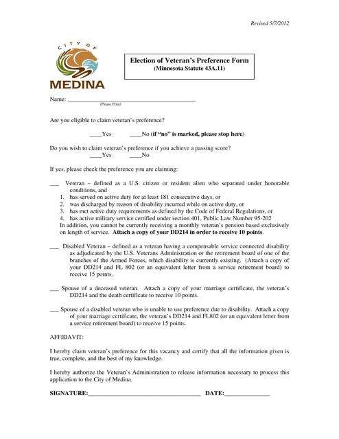 """Election of Veteran's Preference Form"" - City of Medina, Minnesota Download Pdf"