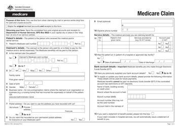 "Form MS014.1705 ""Medicare Claim"" - Australia"