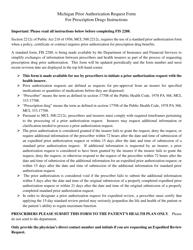 """Form FIS2288 """"Michigan Prior Authorization Request Form for Prescription Drugs"""" - Michigan"""