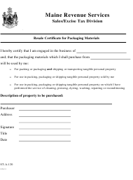 """Form ST-A-120 """"Resale Certificate for Packaging Materials"""" - Maine"""