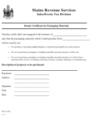 Form ST-A-120 Resale Certificate for Packaging Materials - Maine