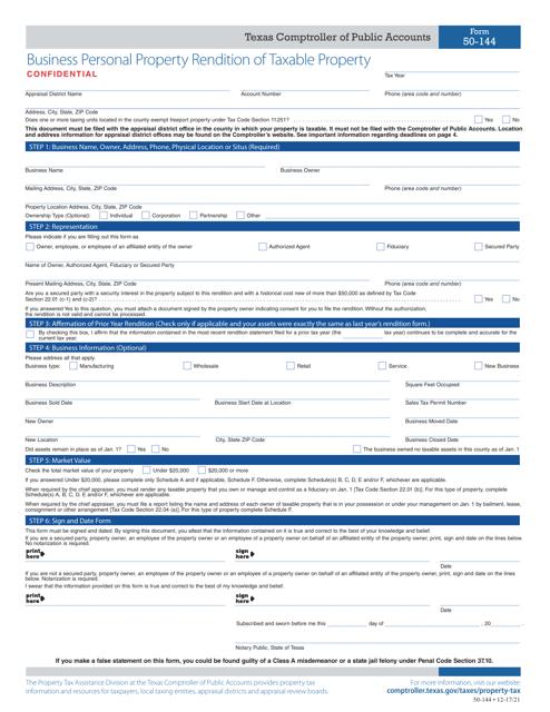 Form 50-144  Printable Pdf