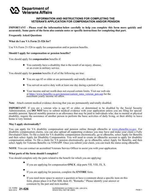 VA Form 21-526 Fillable Pdf