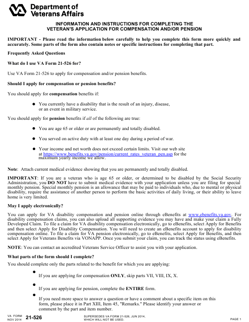 VA Form 21-526  Printable Pdf