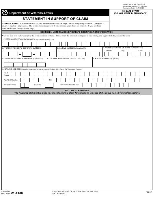 VA Form 21-4138  Fillable Pdf