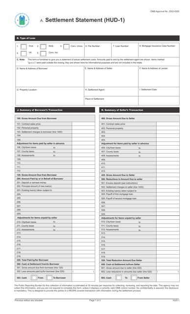 Form HUD-1  Printable Pdf