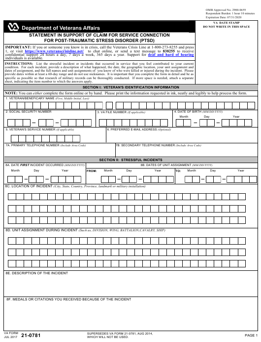 VA Form 21-0781  Fillable Pdf