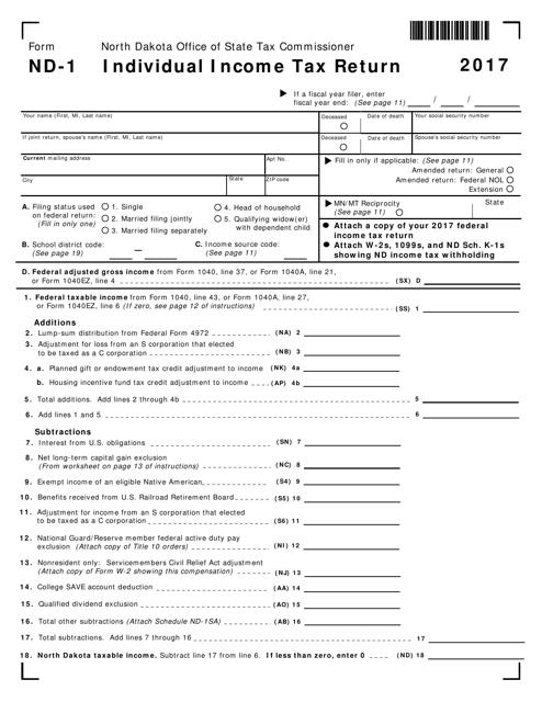 Form ND-1 2017 Printable Pdf