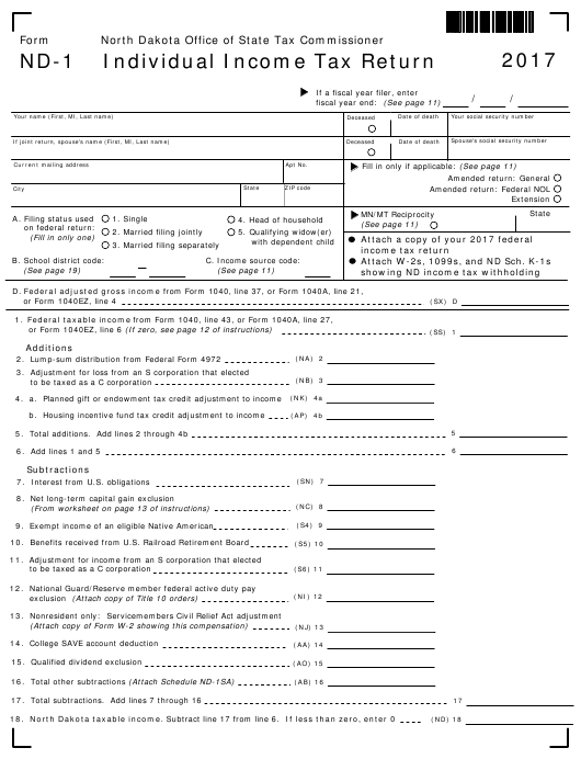 Form Nd 1 Download Fillable Pdf 2017 Individual Income Tax Return