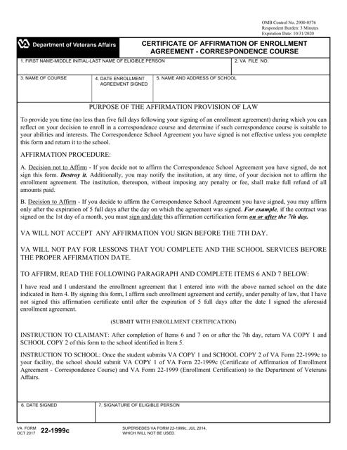 Va Form 22 1999c Download Fillable Pdf Certificate Of Affirmation