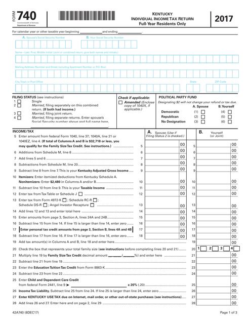 Form 740 2017 Fillable Pdf