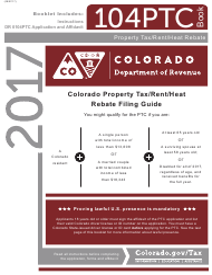 "Form DR0104PTC ""Colorado Property Tax/Rent/Heat Rebate Application"" - Colorado, 2017"