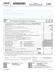 "Form 740-EZ ""Kentucky Individual Income Tax Return"" - Kentucky, 2017"