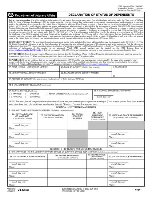VA Form 21-686c Fillable Pdf
