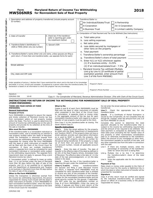 Form MW506NRS 2018 Printable Pdf