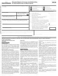 Form MW 506NRS 2018 Maryland Return of Income Tax Withholding for Nonresident Sale of Real Property - Maryland