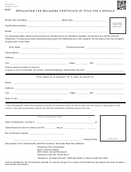 "OTC Form 701-6 ""Application for Oklahoma Certificate of Title for a Vehicle"" - Oklahoma"