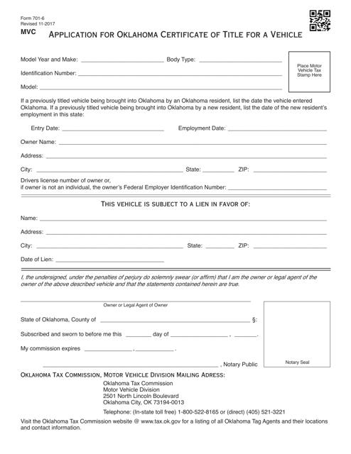OTC Form 701-6  Printable Pdf