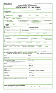 "Form 102 ""Certificate of Live Birth"" - Philippines"