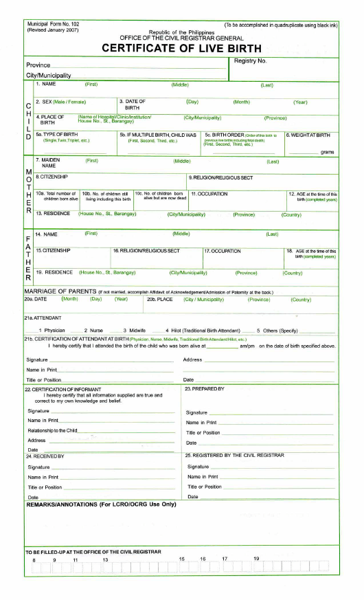 form-102-certificate-live-birth_big Application Form For Philippines on arrival customs declaration, blank biodata, birth certificate blank,