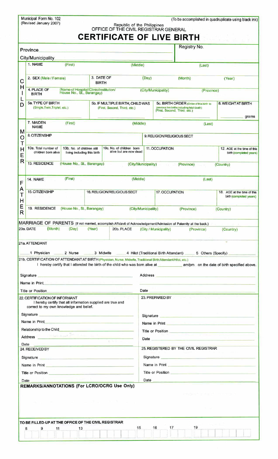 certificate birth form pdf philippines printable fill template templateroller