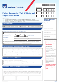 Policy Surrender/Full Withdrawal Application Form - Axa Equitable Life Insurance - Philippines