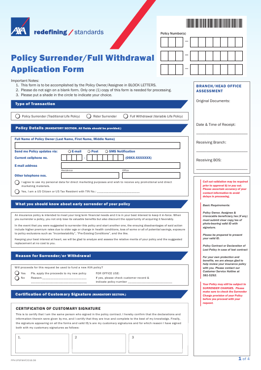 Policy Surrender/Full Withdrawal Application Form - Axa ...