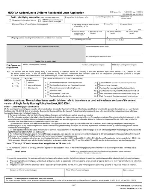 Form HUD-92900-A (VA Form 26-1802A) Printable Pdf