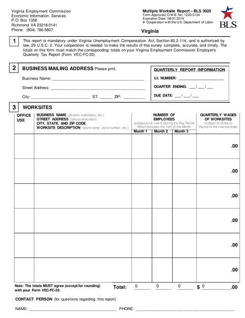 Form BLS 3020 Download Fillable PDF, Multiple Worksite ...