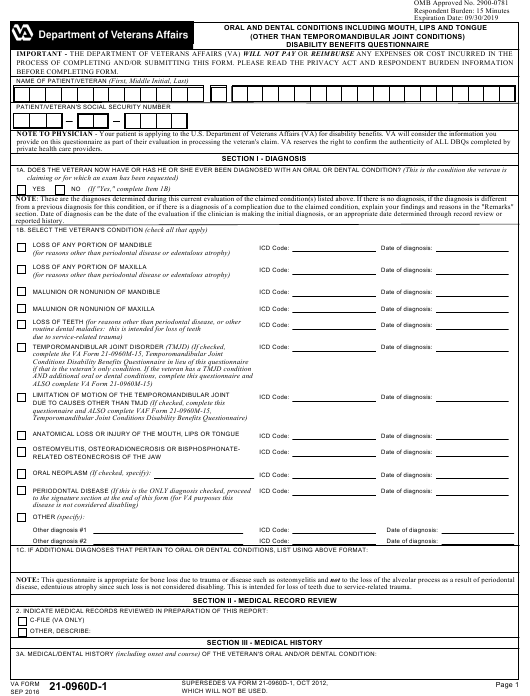 VA Form 21-0960D-1  Printable Pdf