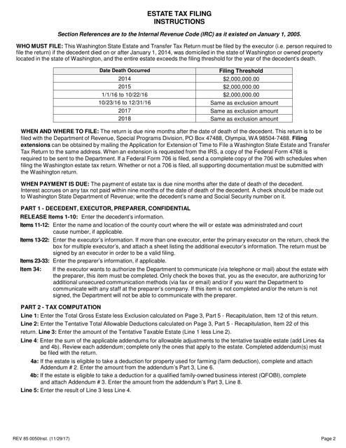 Form REV85 0050  Fillable Pdf
