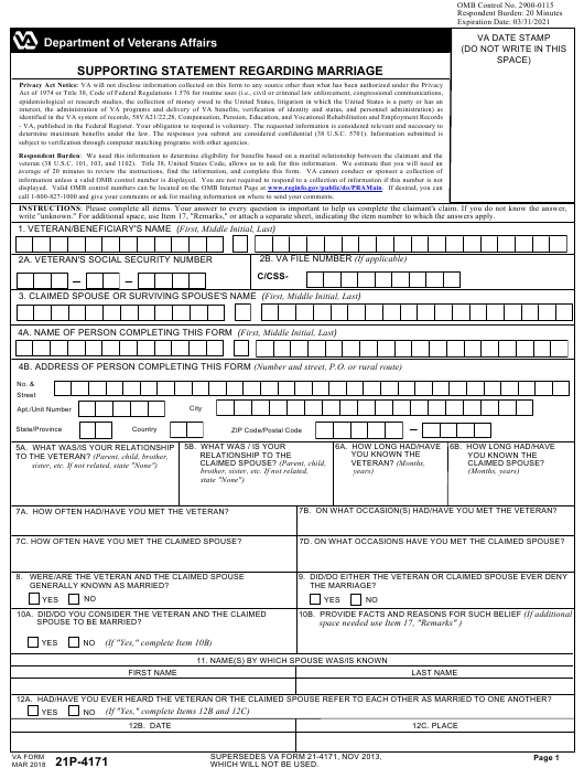 VA Form 21P-4171 Download Fillable PDF, Supporting Statement
