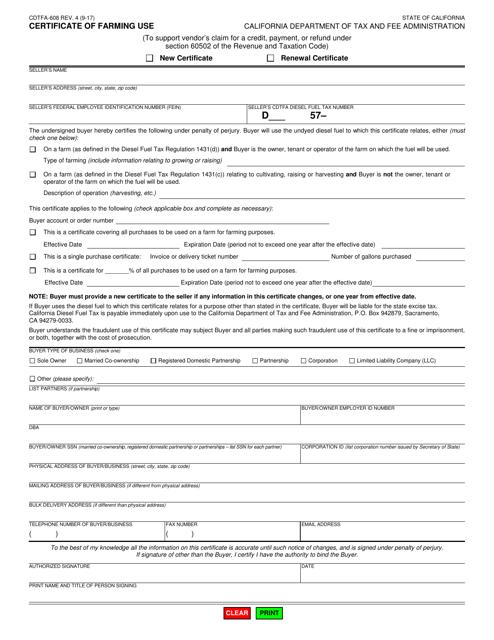 Form CDTFA-608  Printable Pdf