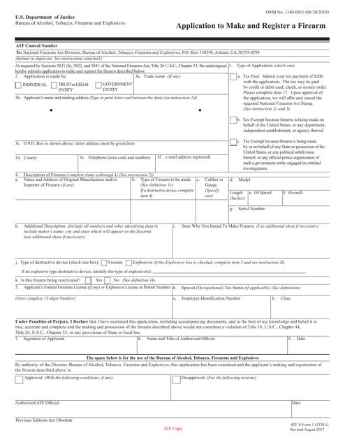 ATF Form 5320.1 Fillable Pdf