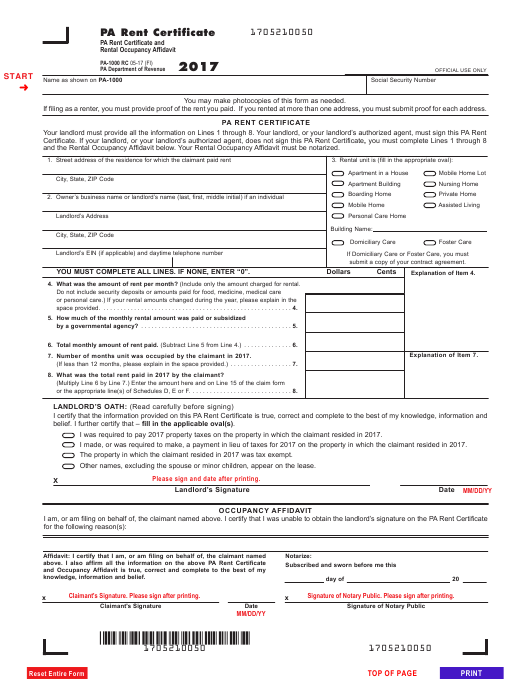 Form PA-1000 RC Download Fillable PDF 2017, Pa Rent Certificate and