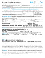 "Form 18-059-N35 ""International Claim Form - Bluecross Blueshield"""
