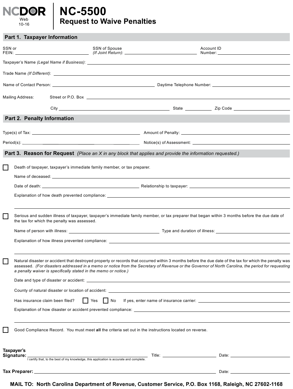 Form NC-5500 Download Printable PDF or Fill Online Request ...