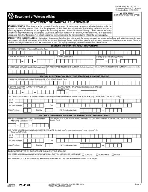 VA Form 21-4170 Printable Pdf