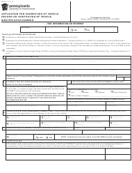 "Form MV-41 ""Application for Correction of Vehicle Record or Verification of Vehicle Identification Number"" - Pennsylvania"