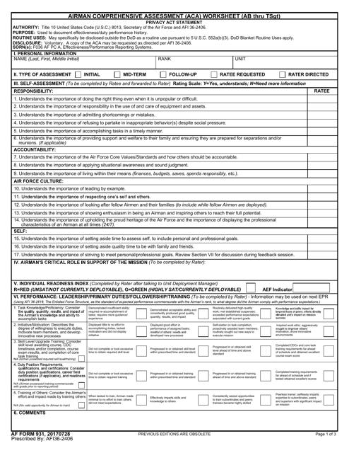 AF Form 931  Printable Pdf