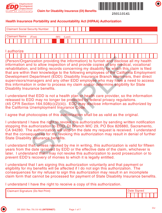 graphic about Printable Ssdi Application titled Style DE 2501 Down load Printable PDF, Assert for Disability