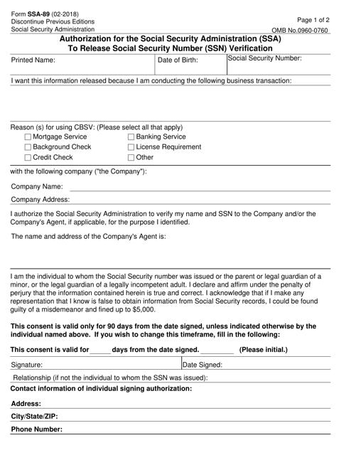 Form SSA-89  Printable Pdf